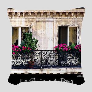 Windows Of Paris-Railing Woven Throw Pillow