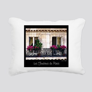 Windows Of Paris-Railing Rectangular Canvas Pillow