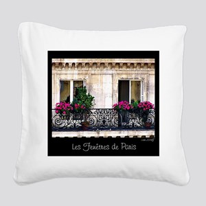 Windows Of Paris-Railing Square Canvas Pillow