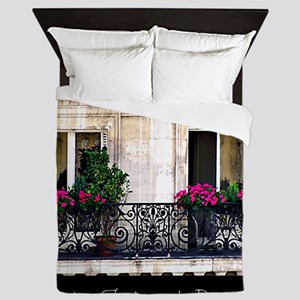 Windows Of Paris-Railing Queen Duvet