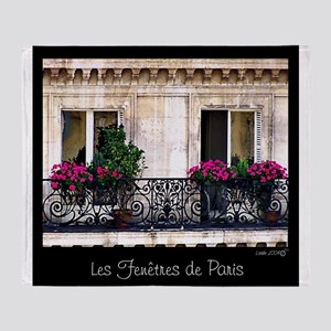 Windows Of Paris-Railing Throw Blanket