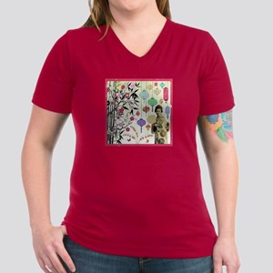 Lanterns Women's V-Neck Dark T-Shirt