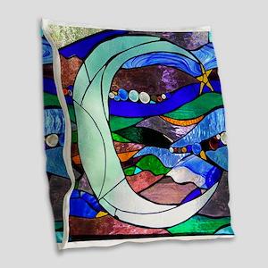 Crescent Moon Burlap Throw Pillow