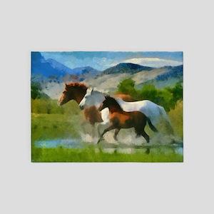 Horse Trio 5'x7'Area Rug