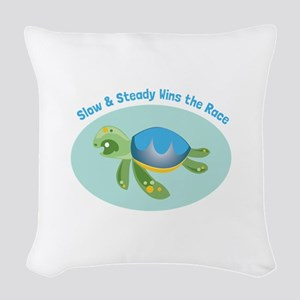 Slow & Steady wins the race Woven Throw Pillow