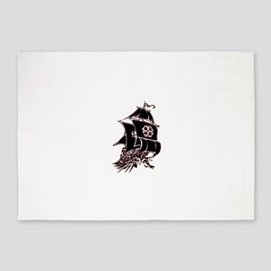 Black Pirate Ship 5'x7'Area Rug