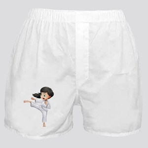 A young woman doing karate Boxer Shorts
