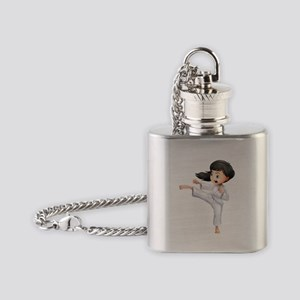 A young woman doing karate Flask Necklace