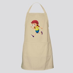 A young lady running Apron