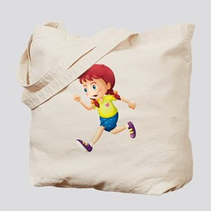 A young lady running Tote Bag