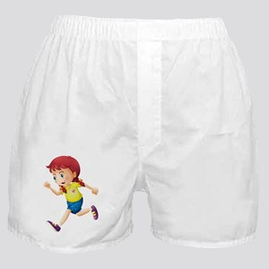 A young lady running Boxer Shorts