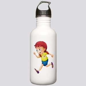 A young lady running Stainless Water Bottle 1.0L