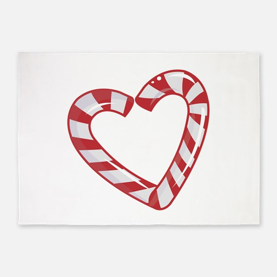 Candy Cane Heart 5'x7'Area Rug