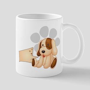 A cute dog with an empty rectangular te Mug