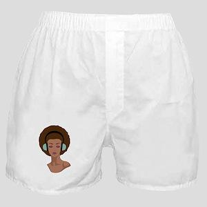 Woman In Headphones Boxer Shorts