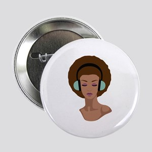 "Woman In Headphones 2.25"" Button (10 pack)"
