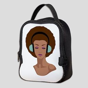 Woman In Headphones Neoprene Lunch Bag