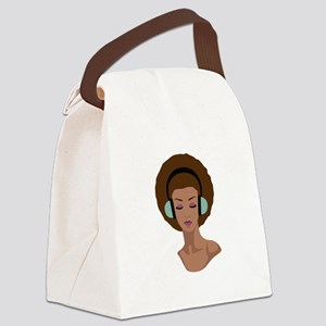 Woman In Headphones Canvas Lunch Bag