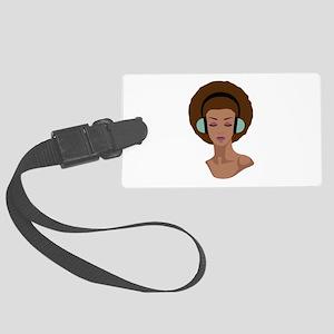 Woman In Headphones Luggage Tag