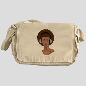 Woman In Headphones Messenger Bag