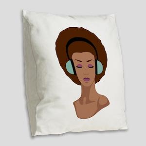 Woman In Headphones Burlap Throw Pillow