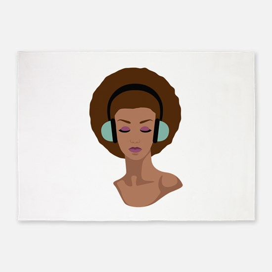 Woman In Headphones 5'x7'Area Rug