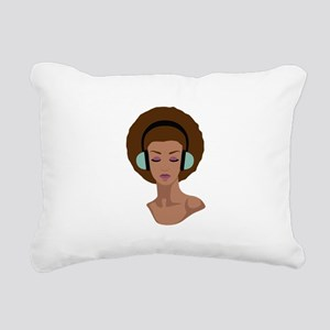 Woman In Headphones Rectangular Canvas Pillow