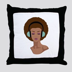 Woman In Headphones Throw Pillow