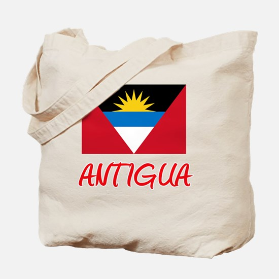 Antigua Flag Artistic Red Design Tote Bag