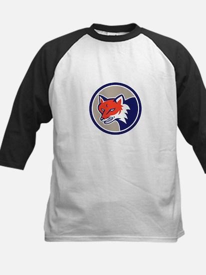 Red Fox Head Angry Circle Retro Baseball Jersey