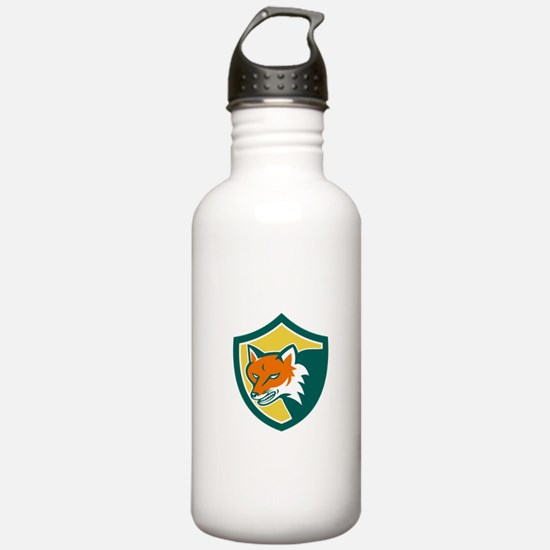 Red Fox Angry Head Shield Retro Water Bottle