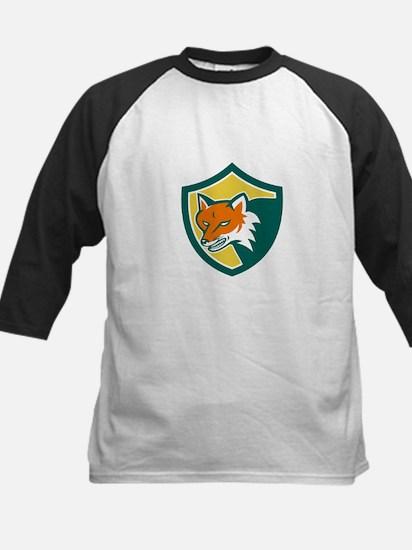Red Fox Angry Head Shield Retro Baseball Jersey