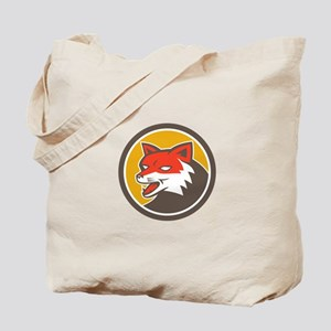 Red Fox Head Growling Circle Retro Tote Bag