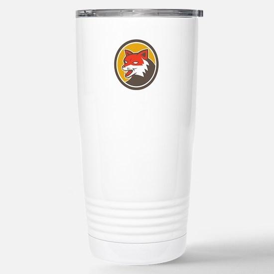 Red Fox Head Growling Circle Retro Travel Mug