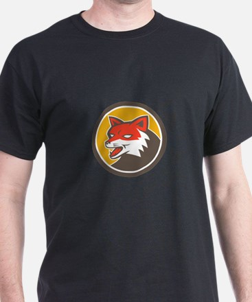 Red Fox Head Growling Circle Retro T-Shirt
