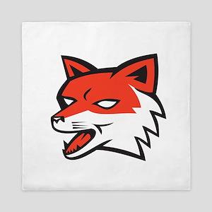 Red Fox Head Growling Retro Queen Duvet