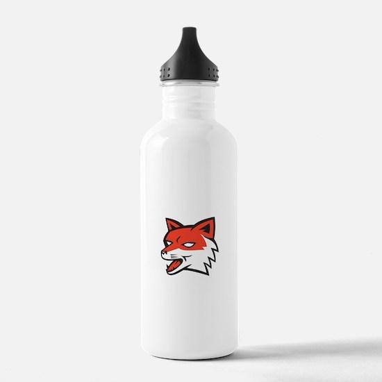 Red Fox Head Growling Retro Water Bottle