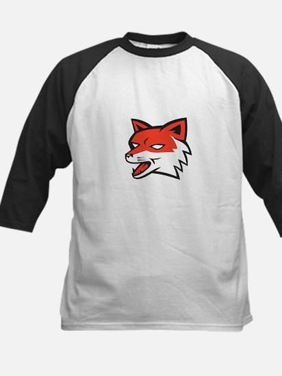Red Fox Head Growling Retro Baseball Jersey