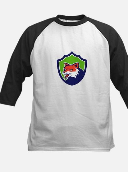 Red Fox Head Growling Shield Retro Baseball Jersey