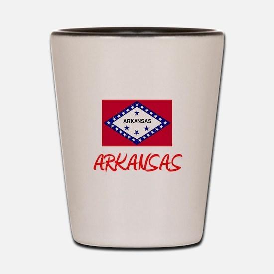 Arkansas Flag Artistic Red Design Shot Glass