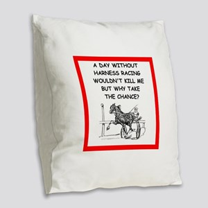 harness racing Burlap Throw Pillow