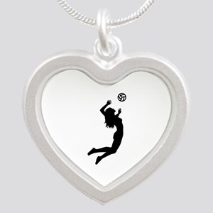 Volleyball girl Silver Heart Necklace