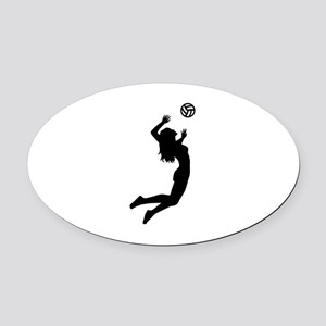 Volleyball girl Oval Car Magnet