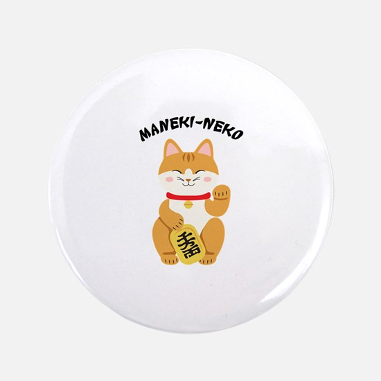 "Maneki-Neko 3.5"" Button"