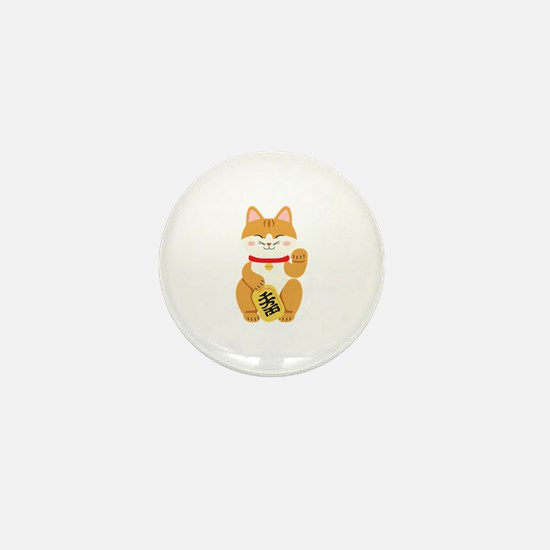 Maneki Neko Japanese Figurine Cat Mini Button