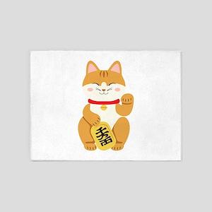 Maneki Neko Japanese Figurine Cat 5'x7'Area Rug