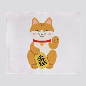 Maneki Neko Japanese Figurine Cat Throw Blanket