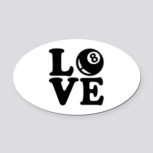 Billiards love Oval Car Magnet