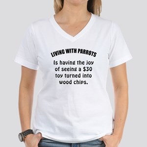 Living With Parrots Women's V-Neck T-Shirt