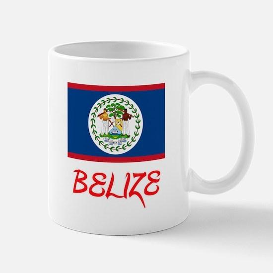 Belize Flag Artistic Red Design Mugs